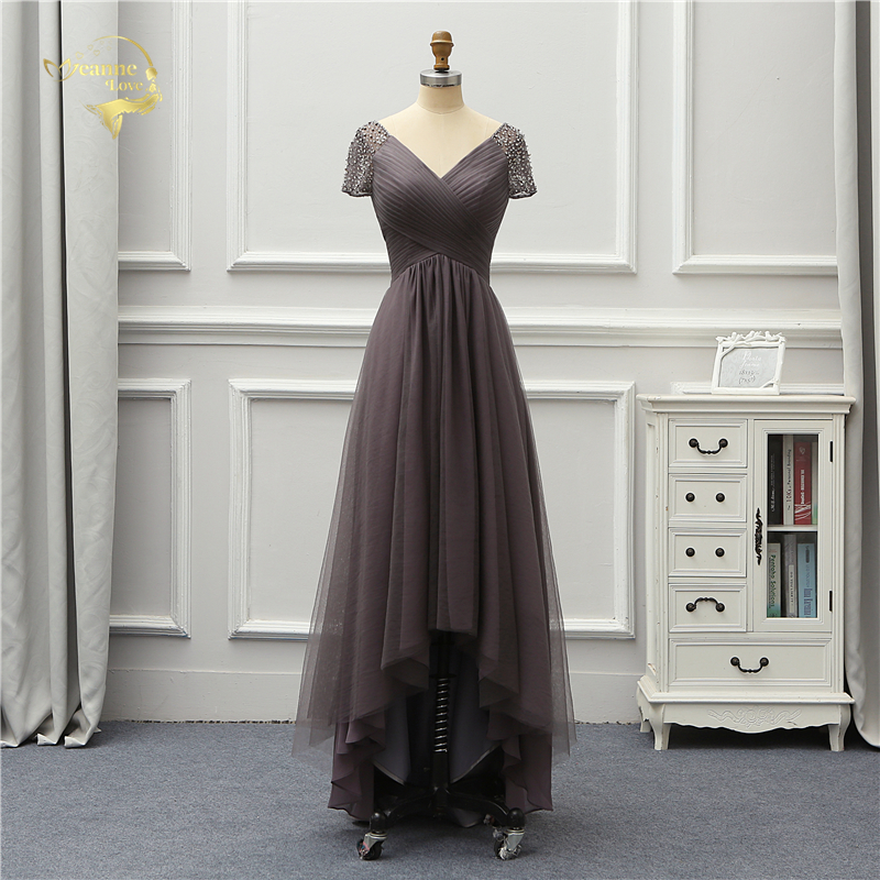 Jeanne Love Luxury Evening Dress New Arrival Front Short Long Back Short Sleeves Party Robe De Soiree Vestido De Festa OL5232 3