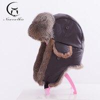 2019New Winter hat for men real rabbit fur ear cap warm winter men hat fur beret Russia hats high quality to keep warm