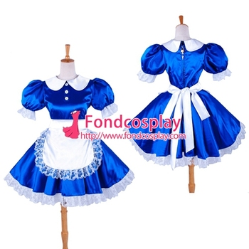 Lockable Uniform Sissy Maid Dress Blue Satin Dress Cosplay Costume Tailor-made[G1360]