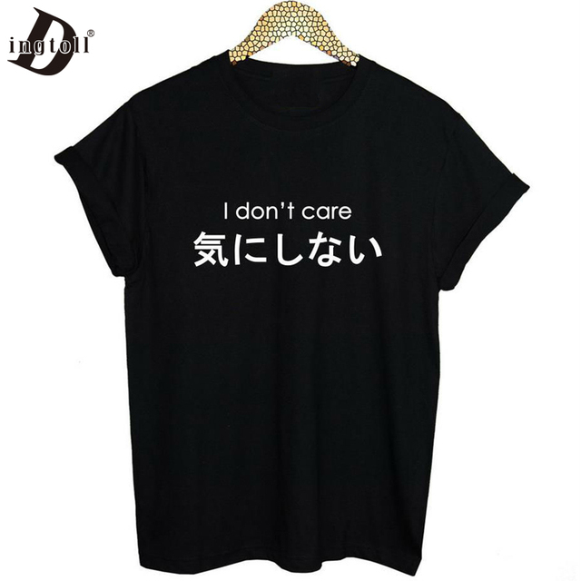 1006db28ab4 Dingtoll Japan I DONT CARE Letter Printed Tees Harajuku Women T shirt  Casual Street Punk Tops WMT185