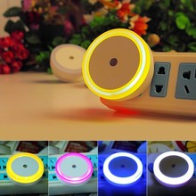 Sensor Night Light Plug In Sensor Light EU/US Plug Luminaire Lamp Led Nightlight Children Bedroom Round Square Heart 110V 220V