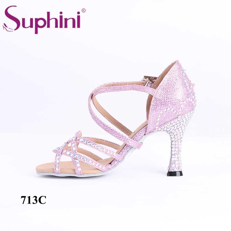 Cristal rose pierre de haute qualité paillettes confortables Suphini chaussures de danse Salsa latine