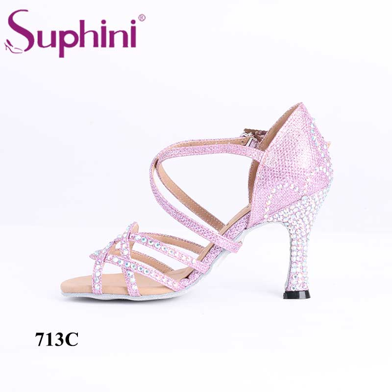 flame Crystal Stone High Quality Comfortable Suphini Dance Shoes Latin Salsa combbind c340