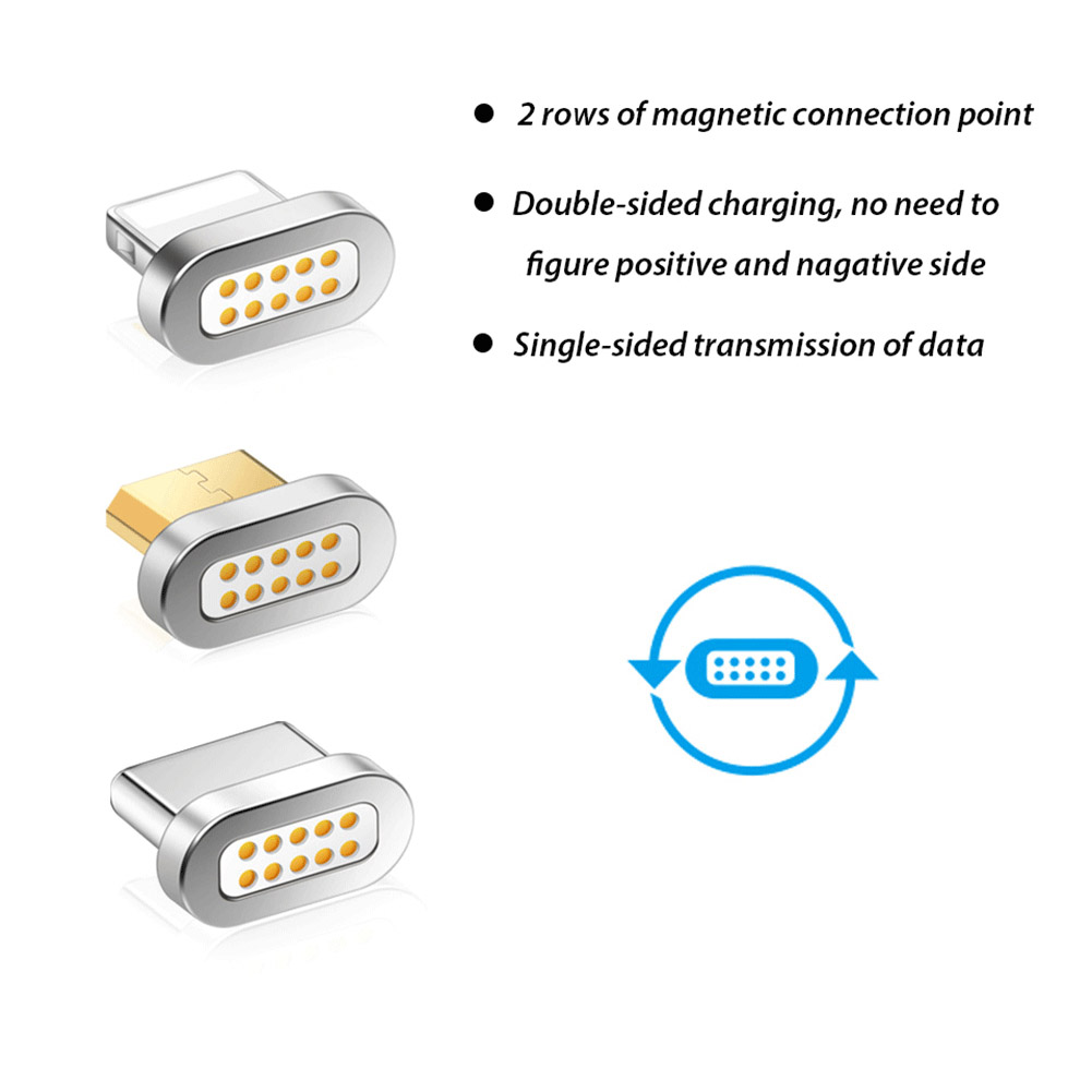 Wholesale 3 Types Micro USB Type-C 8 Pin Plug Magnetic Adapter Charger Connector For IPhone Samsung Motorola Xiaomi Huawei