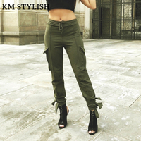 Super Fire Cargo Pants Women Bottoms 2018 Autumn New Casual Pockets Beam Feet Pants Army Green Black Tide Solid Color Nine Pants