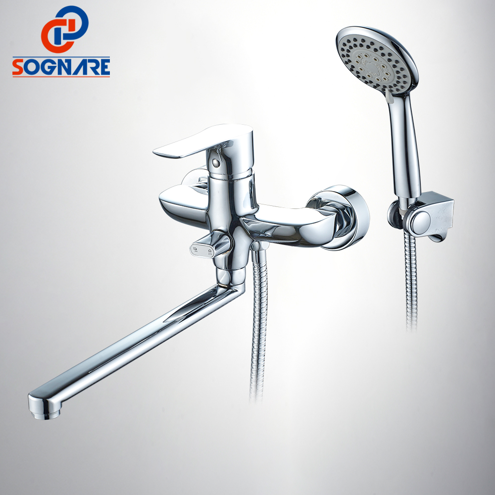 SOGNARE Chrome Bathroom Faucet Brass Bath With ABS Hand Shower 300mm Long Spout Bath Shower Set Single Handle Cold and Hot D5131 free shipping chrome brass hand shower set faucet wall mounted with brass holder and hot cold control shower valve is125