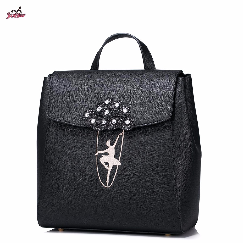 Just Star Brand Design Ballet Girls Dancing Embroidery Fashion PU Women Leather Ladies Backpack School Travel Shoulders Bags 2017 new brand ballet girl embroidery drawstring pu women leather ladies backpack shoulders school travel bags student daypack