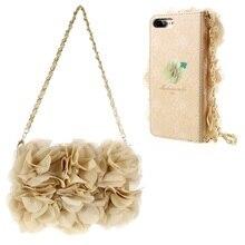 Для Apple I7 плюс крышка 3D розы Декор кожаный кошелек, чехол для телефона с золотой удобный ремешок для iPhone 7 Plus 5.5 дюймов-бежевый