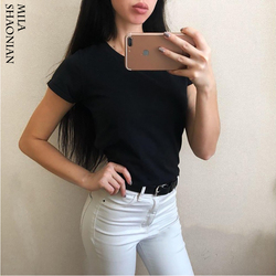 Summer Casual 15 Colors Solid Tshirt Women O-Neck Cotton colorful T shirt Basic Ladies Hot Sale Stretch White Tops tees Loose 2