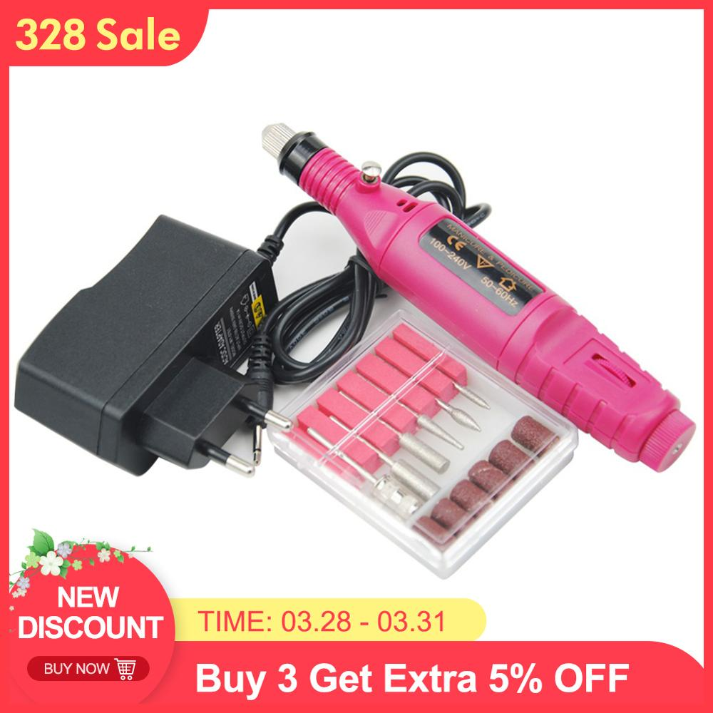 1 set Power Pen Profissional Elétrica Máquina Manicure Pedicure Lixa de Unhas Ferramentas Unhas 6 brocas de Perfuração Máquina de Perfuração Prego