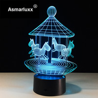 Merry Go Round 3D Illusion LED Night Light 7 Colors Table Lamp Novelty Product Light With
