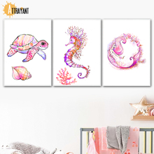 Watercolor Sea Turtle Mermaid Wall Art Canvas Painting Nordic Posters And Prints Animal Pictures Kids Boy Girl Room Decor