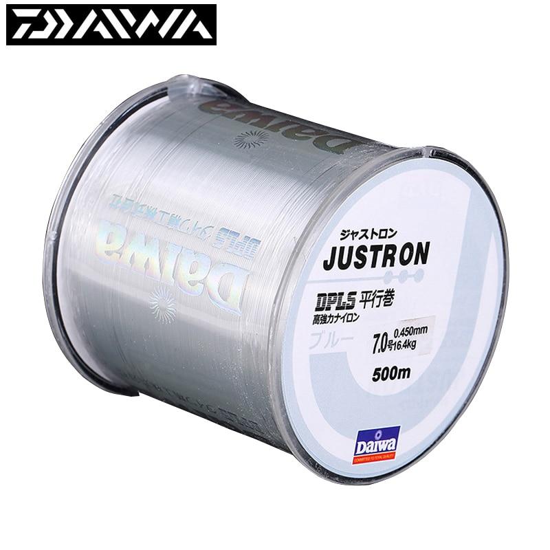 Brand Fishing Line DAIWA 500m Super Strong Daiwa Justron Nylon Fishing Line 2LB - 40LB 7 Colors Japan Monofilament Main Line
