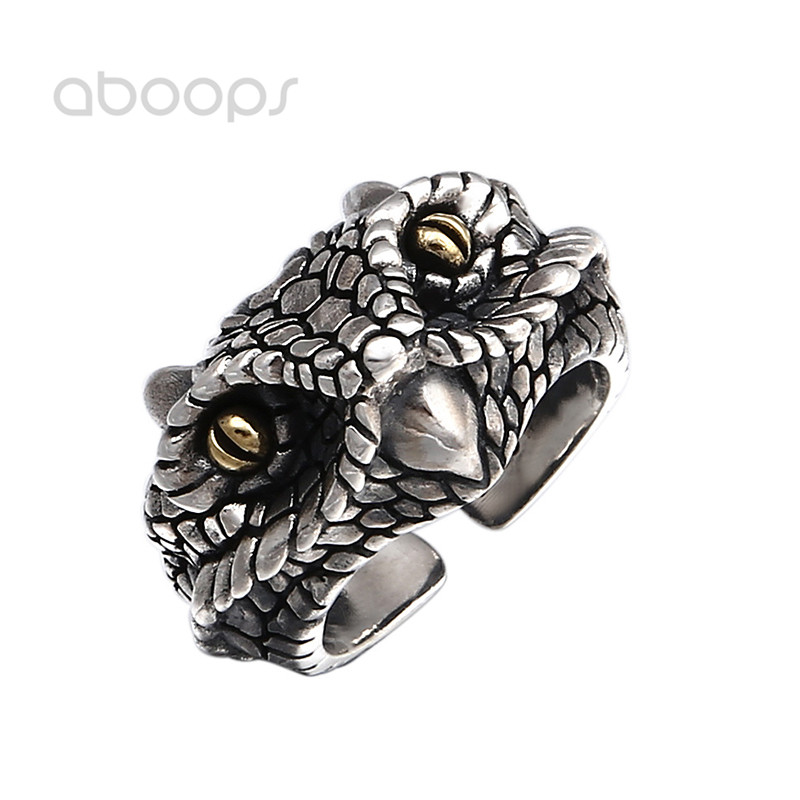 Cool Two Tone 925 Sterling Silver Cobra Head Ring for Men Boys Adjustable Free Shipping capelli new york toddler boys two tone clog with backstrap