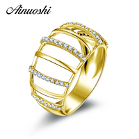 AINUOSHI 10 K Rắn Vàng Gold Wedding Phụ Nữ Nhẫn Thiết Kế Độc Đáo Joyeria Fina Bijoux Simulated Diamond Trang Sức Engagement Rings