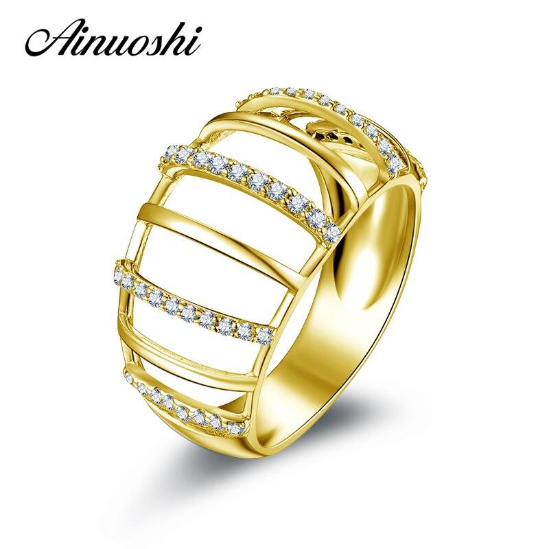 AINUOSHI 10K Solid Yellow Gold Women Wedding Ring Unique Design Joyeria Fina Bijoux Simulated Diamond Jewelry Engagement Rings