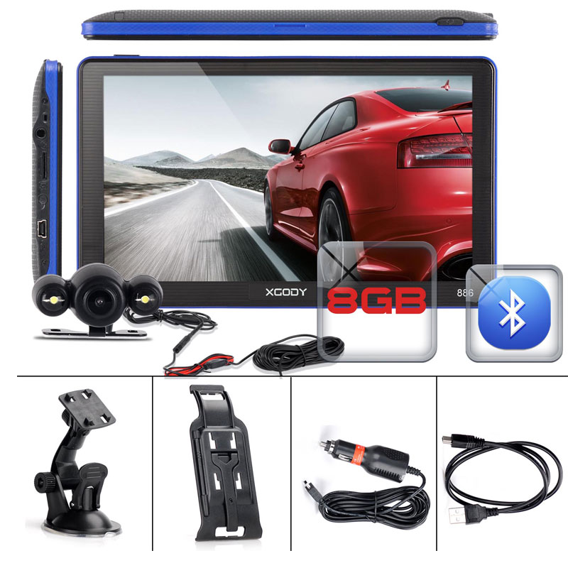 XGODY 7 Zoll Auto Lkw GPS Navigation 256MB + 8GB FM Bluetooth AVIN Touchscreen Navigator Rückansicht Kamera russland 2019 Europa Karte