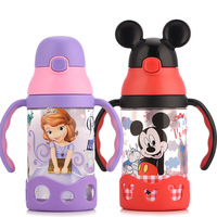 Disney baby cup children's sippy cup learn to drink cup baby kettle leak proof baby drink cup with handle