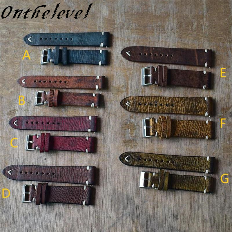 K18/20/ 22/24mm Genuine Leather Watchband Handmade Vintage Stitching Design Wrist Wristband Calfskin Strap Metal Buckle 7 Colors