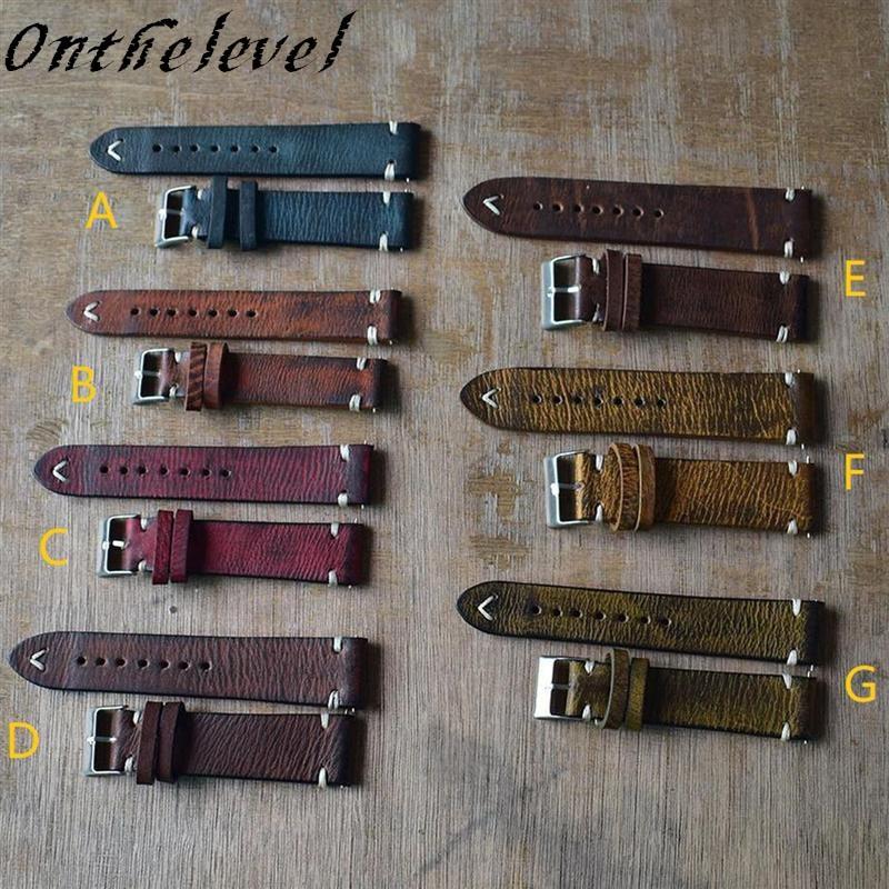 K18/20/ 22/24mm Genuine Leather Watchband Handmade Vintage Stitching Design Wrist Wristband Calfskin Strap Metal Buckle 7 Colors