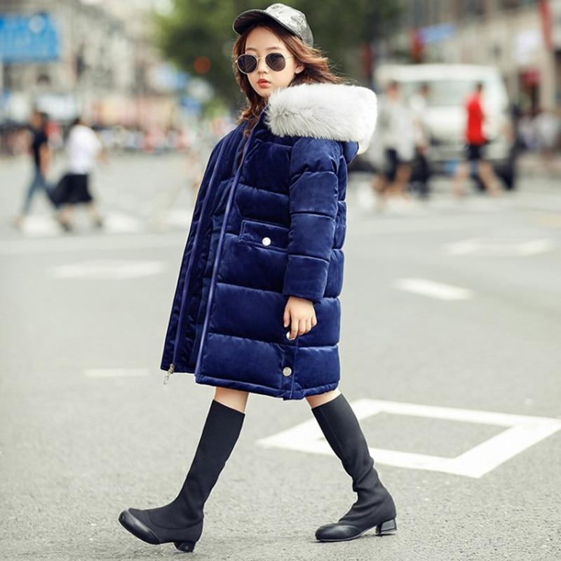 Winter Girls Velvet Long Coat Kid School Princess Cute Keep Warm Christmas Hooded Fur Collar Print Letter Jackets Kid Clothes