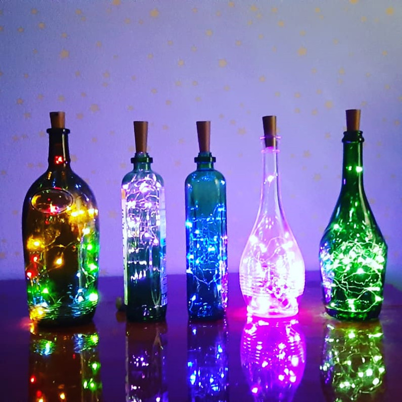 2M LED Glowing Garland String DIY Fairy Lights For Glass Craft Bottle Flashing Toys For Kids Birthday Party New Year Gift