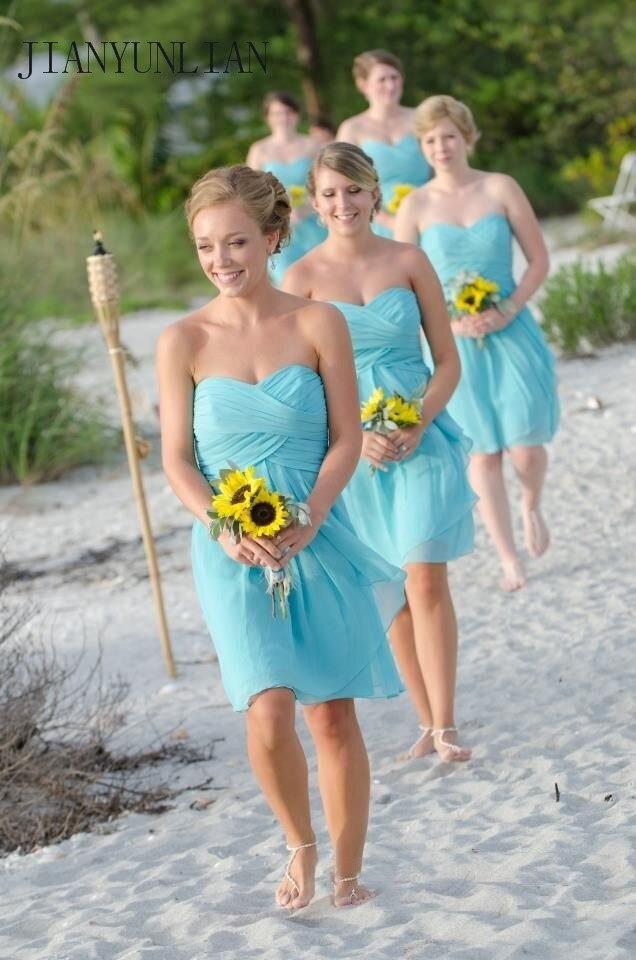 2020 Cheap   Bridesmaid     Dress   Sweetheart A Line Knee Lenght Short   Bridesmaid   Gowns Wholesale Cheap Women Beach Wedding Party Gown
