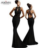 SEBOWEL 2017 Elegante Rendas Floral Vestido Longo Mulheres Formal Maxi Dress Senhoras Sexy Alta Neck Backless Até O Chão vestido de Noiva Vestidos