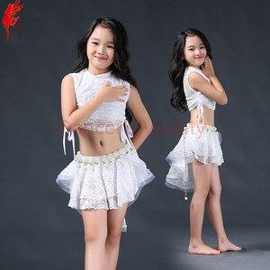 Image 3 - Meninas elegantes roupas de dança do ventre 2pcs(sleeveles top + saia) meninas terno criança Encantadora dança do ventre roupas de dança do ventre 3 cores S/L