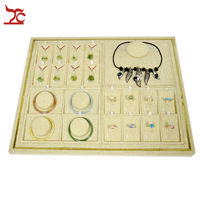 Brand New Jewelry Display Wooden Beige Linen Pendant Ring Earring Stud Bracelet Necklace Display Holder Stand Tray 50*40*2cm