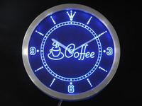 nc0319 Coffee Cup Shop Caf? Neon Sign LED Wall Clock