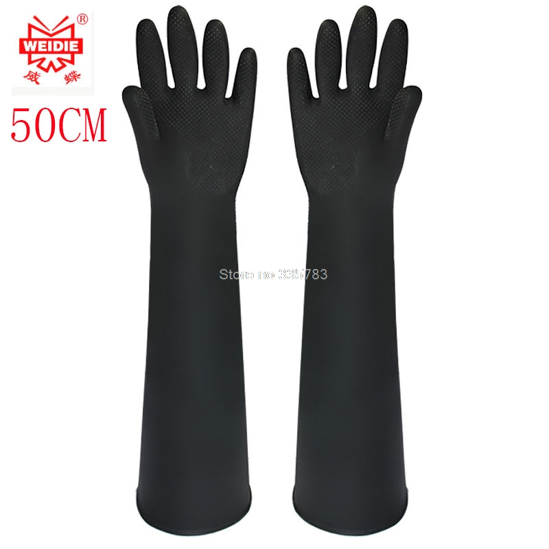 50CM white/Black gloves latex working Midoni waterproof non-slip arbeitshandschuhe upset longer latex work gloves Free Shipping 900pcs cots disposable latex sets rubber non slip labor beauty massage nail profiling tattoo white finger cot