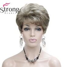 Dame Frauen Kurze Welle Syntheic Haar Perücke Blonde mit Highlights Volle perücken Farbe Für wählen