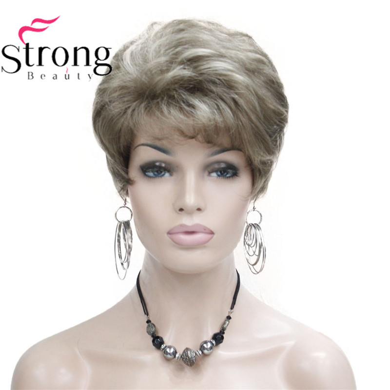 Lady Women Short Wave Syntheic Hair Wig Blonde With Highlights Full Wigs Color For Choose