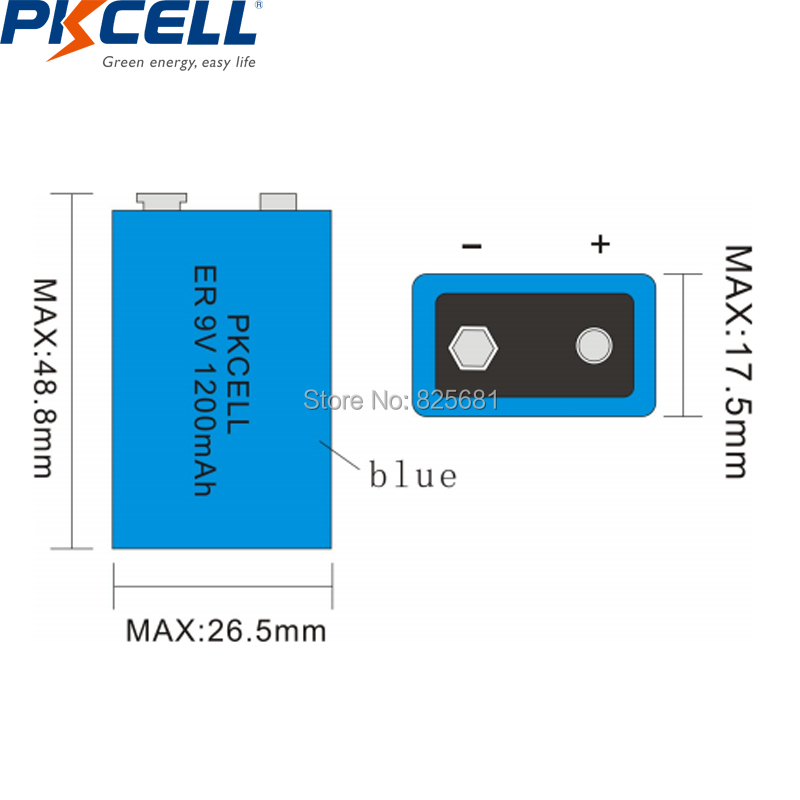 30Pcs PKCELL ER9V 1200mAh 9V Li-SOCl2 Lithium Batteries Bateria For Smoke alarm lithium-ion battery 6LR61 6F22