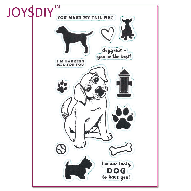Puppy Make My Tall Wag Lucky Dog Scrapbook DIY photo cards account rubber stamp clear stamp transparent stamp 20*11cm