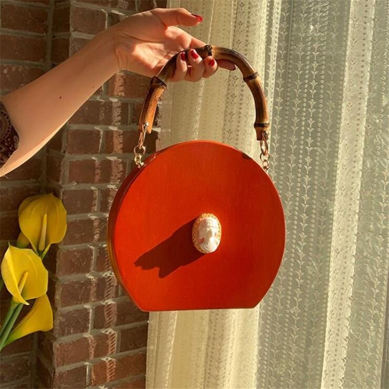 2019 nuevo bolso de bambú para mujer, bolso de madera hecho a mano, bolso redondo para mujer, bolso de cadena, bandolera, bolso de marcas de diseñador, bolsa - 3