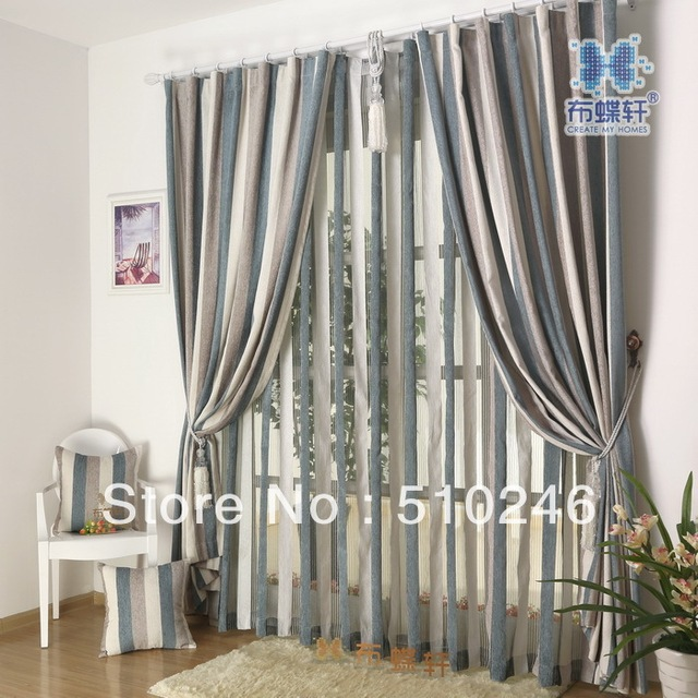 new arrival customized chenille jacquard blue livingroom door window drape rod eyelet tulle fabric curtain