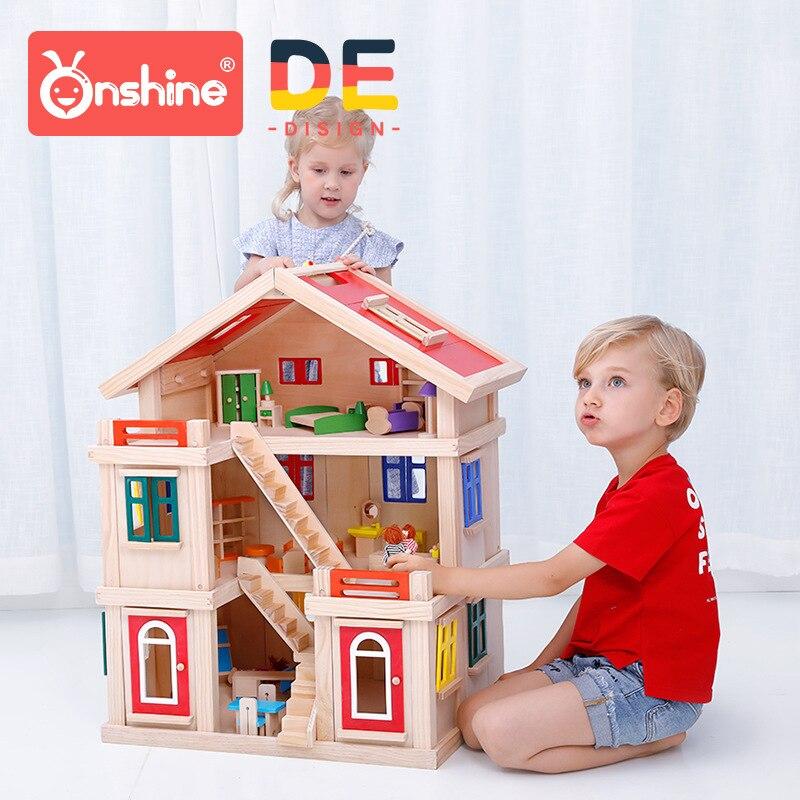 ONSHINE Кукольный дом с мебели ручной работы деревянный дом diy подарки на день рождения 3D Пазлы для взрослых и влюбленных дом мечты детей
