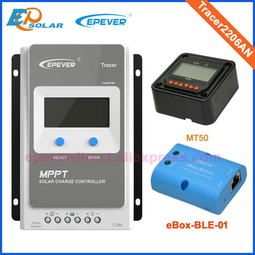 MPPT controller 20A EPEVER EPsolar Solar Battery Charger 12V/24V auto work Tracer2206AN 20amps MT50 Meter and bluetooth eBOX solar 10a 10amp battery charge controller tracer1215bn 12v 24v auto work mppt epever usb sensor mt50 remote meter epsolar