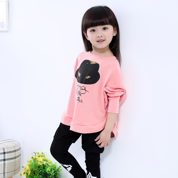2017 Hot Sale Fashion girls Bat shirt sweatshirts Cotton Kids Loose Hoodies Clothes Baby Toddler Children clothing 2 To 14 15Y