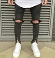 2016 novo design zíperes skinny slim fit mens Afligido Denim jeans de algodão preto de alta qualidade da moda casual calça jeans elásticos