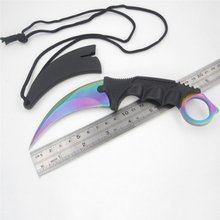steel claw knives Tactical Knife Karambit Knife Fixed Blade cs go Strike Claw Knife with Sheath and Cord for Camping Hunting(China)