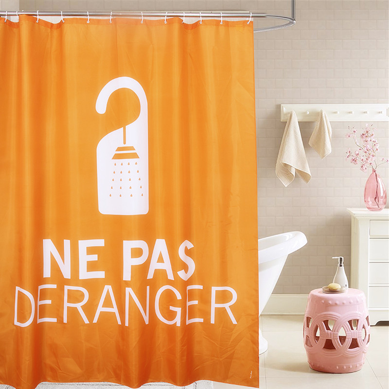Fabric Polyester Orange Showering Waterproof Thicken Shower Curtains Nepas Bathroom Shower Curtains 180x200cm