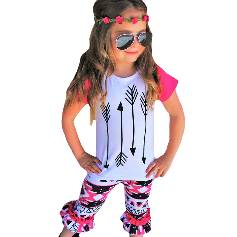 Girls Clothes Outfits 2017 Summer Boutique Kids Clothing Set Arrow T Shirt Tops+Geometry Pants 2pcs Toddler Girl Clothing Sets baby kids baseball season clothes baby girls love baseball clothing girls summer boutique baseball outfits with accessories