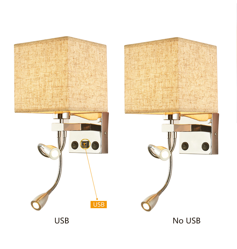 Modern Indoor LED Wall Lamp Bedside Bedroom Applique Sconce With Switch USB E27 Bulb Interior Headboard Home Hotel Wall Lights (5)