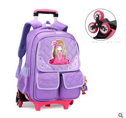 Sac à dos de chariot de voyage d'enfants sur le sac d'école de chariot à roues pour le sac à dos d'école de chariot à bagage d'enfant de fille pour l'enfant