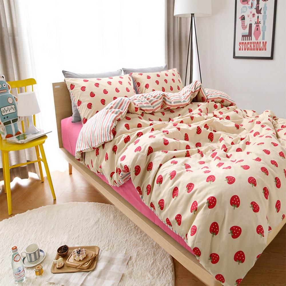 Cute Cartoon Strawberry Bed Set Teen Kid Twin Full Queen