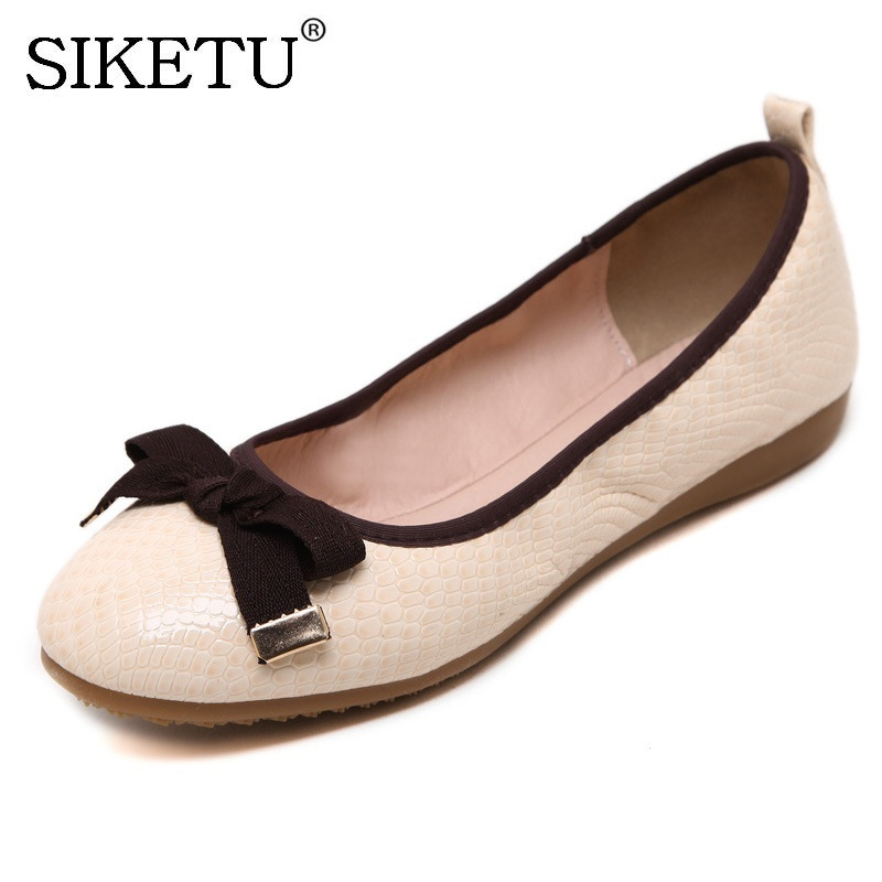 SIKETU Spring Summer Bow Ballerina Women Flat Shoes 2017 Comfortable Soft Round Toe Slip-on Flats Loafers Casual Shoes H928-4 2017 spring summer new women casual pointed toe loafers flats ballet ballerina flat shoes plus size 34 43