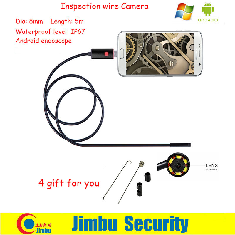 8MM 5M Focus Camera Lens USB Cable Waterproof 6 LED Android Endoscope 1/9 CMOS Mini USB Endoscope Smartphone Camera free shipping 5mp cmos ov5640 usb camera module with 2 1 2 8 3 6 6 8 12 16mm lens